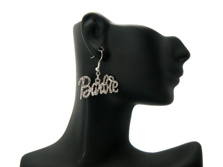 Rhodium Silver Barbie Dangling Cz Iced Out Earrings