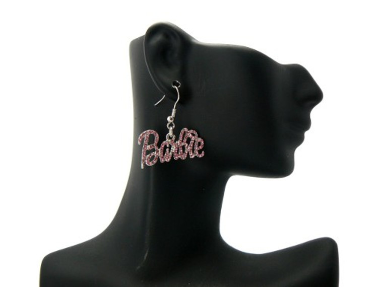 Rhodium Silver Pink Barbie Dangling Cz Iced Out Earrings