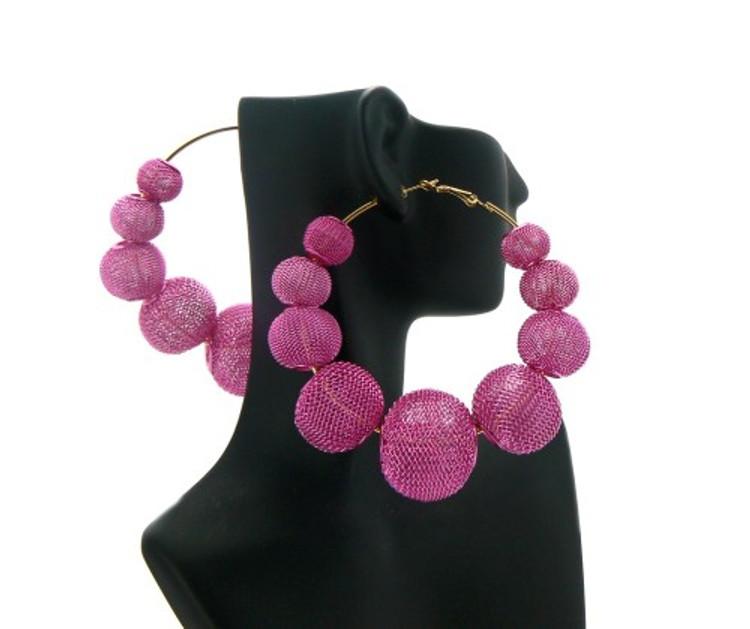 Big Mesh Ball Basketball Wives Earrings Pink