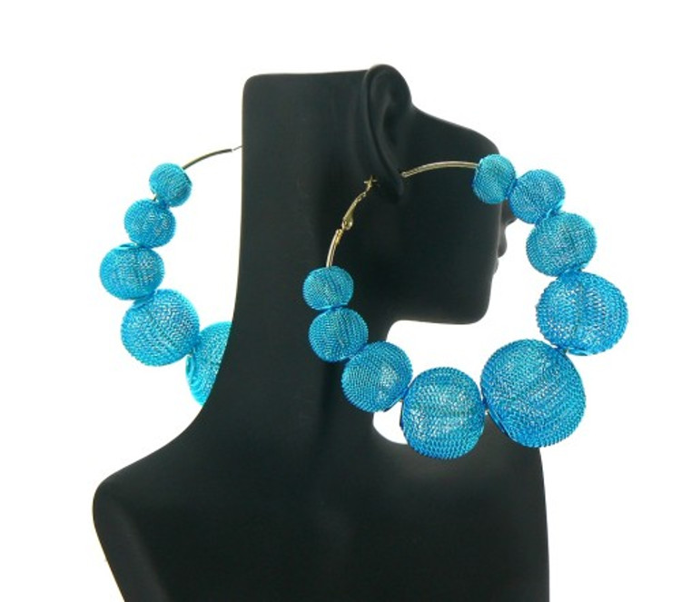 Big Mesh Ball Basketball Wives Earrings Blue