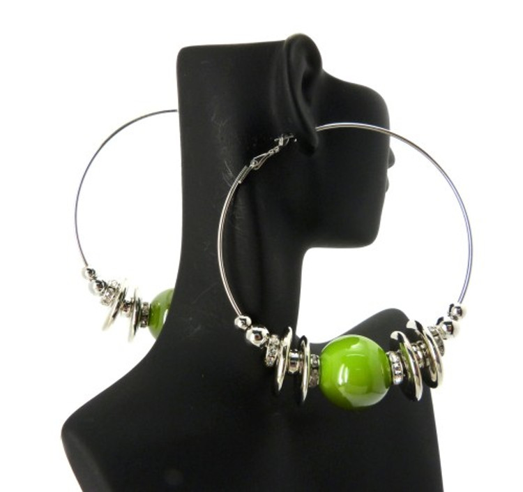 Cz Rhodium Silver Green Bead Basketball Wives Earrings