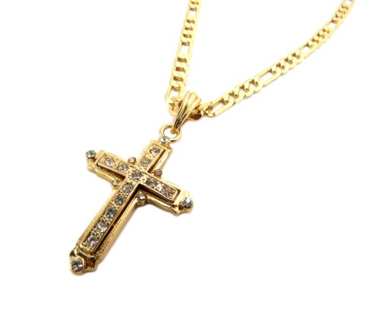 Classic Diamond Cz Original Cross Pendant Chain Gold