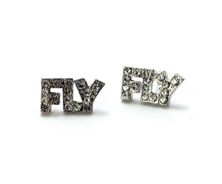Hip Hop Bling Cz Silver FLY Earrings