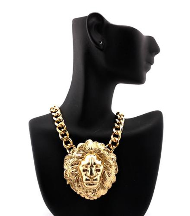 Celebrity Inspired Gold Lion Head Hip Hop Pendant Necklace