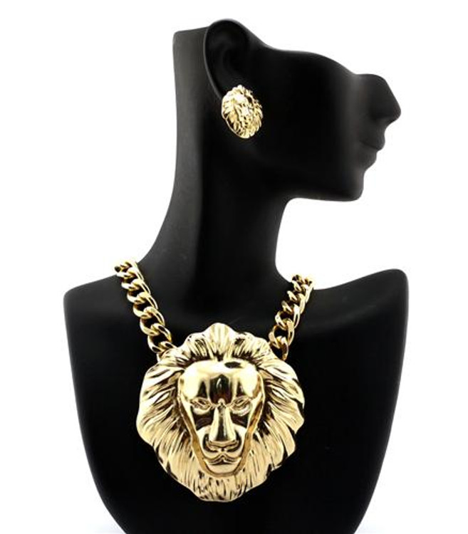 14k Gold Celebrity Inspired Gold Lion Head Pendant Earrings Set