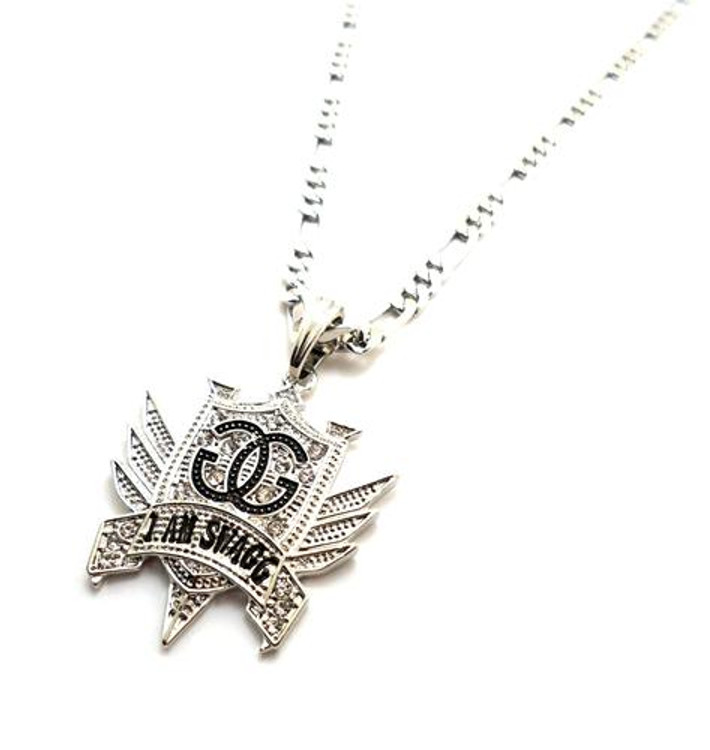 I Am Swagg Silver Cz Hip Hop Pendant Chain