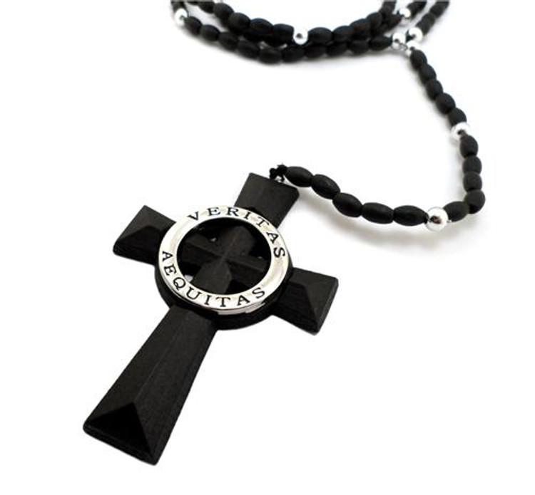 Wooden Silver Boondock Rosary Cross Pendant