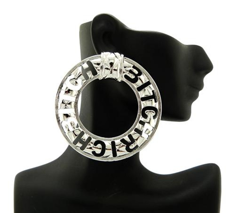 "Celebrity Inspired ""Rich Bitch"" Silver Earrings"