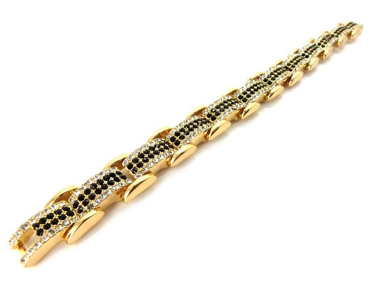 Iced Out Diamond Cz Premium Stone Bracelet Gold & Black