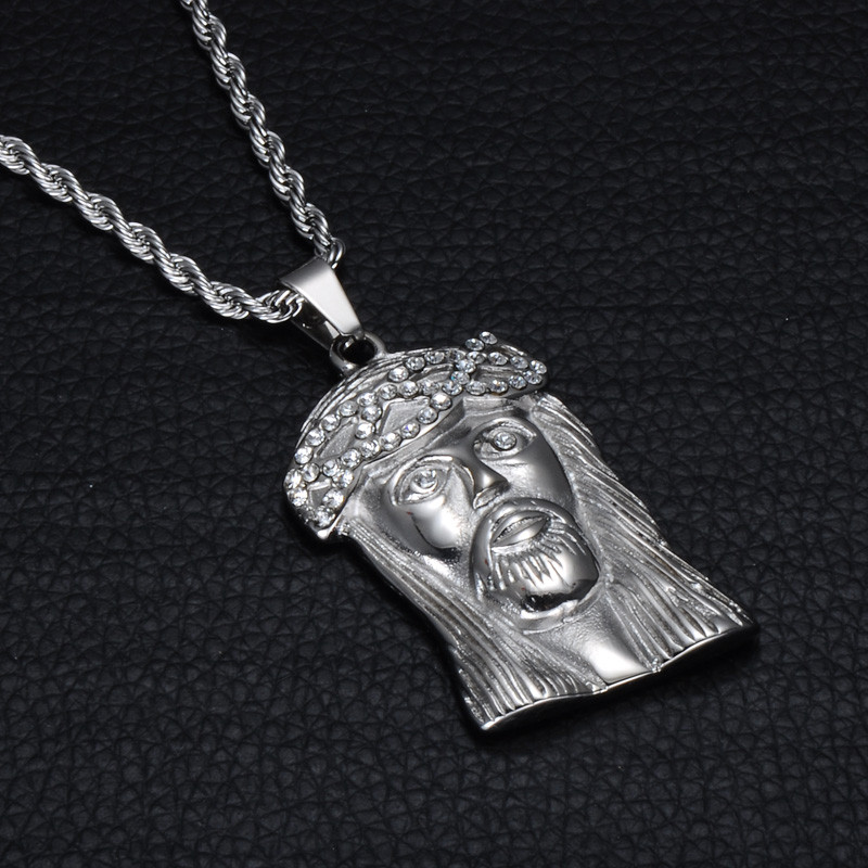 .925 Iced Out Lab Diamond Jesus Piece Silver Stainless Steel No Fade Chain  Pendant - Bling Jewelz a38bf008da8e