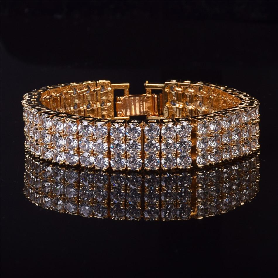 Mens 14k Gold 3 Row Diamond Cz Stone Pharaoh Bracelet - Bling Jewelz 112eabd57