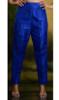 Blue Silk Cigarette Pants