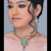 Turquoise Alluring Polki Pendent Necklace Set