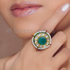 Gold Plated Unique Faux Pearl Fashion Ring