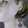 Black Floral East Indian Earrings