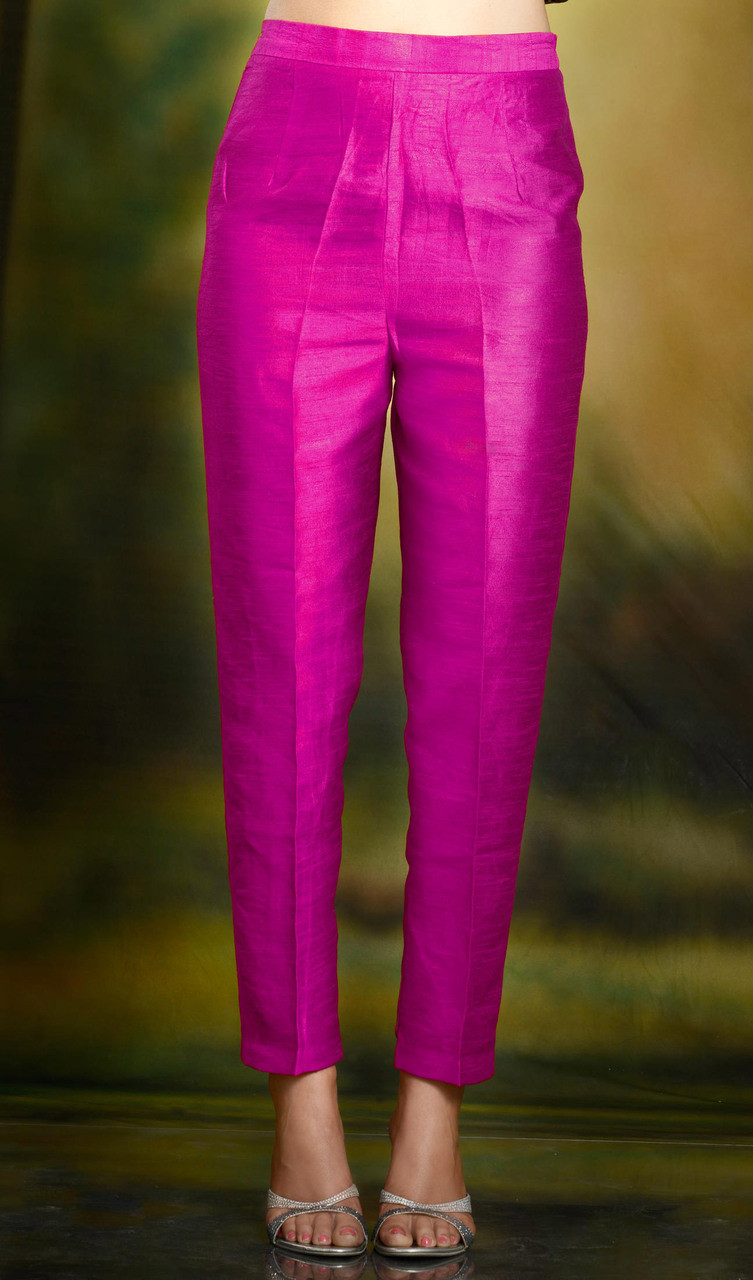 Hot Pink Cigarette Pants Pencil Trousers Silk Www