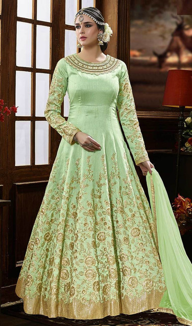 Silk Green Color Embroidered Anarkali Suit