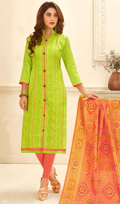 Green Color Shaded Cotton Embroidered  Churidar Kameez