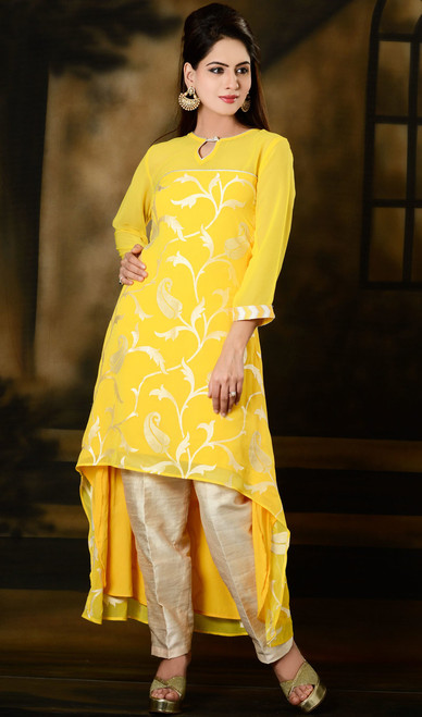 Yellow Embroidered Georgette Tunic