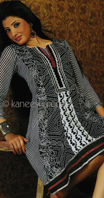 Georgette Black and White Printed Tunic