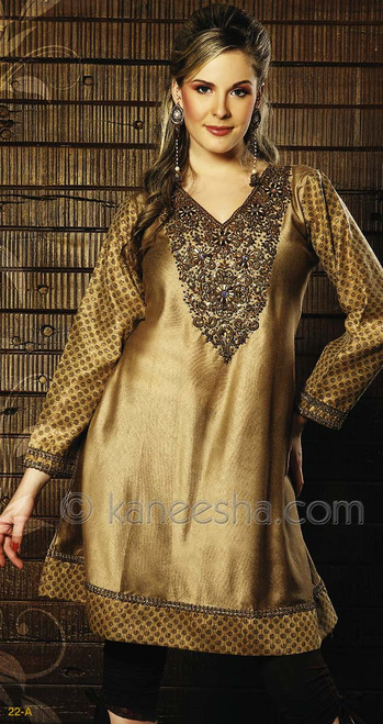 Silk Blend Heavy Antique Jardozi Embroidered Kurti