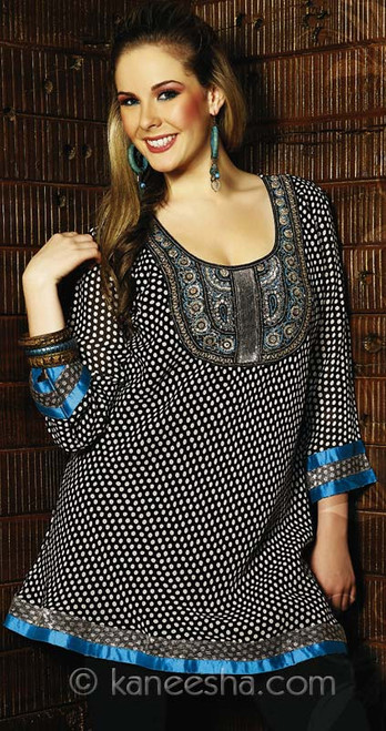 Embellished Polkadot Georgette Tunic Top