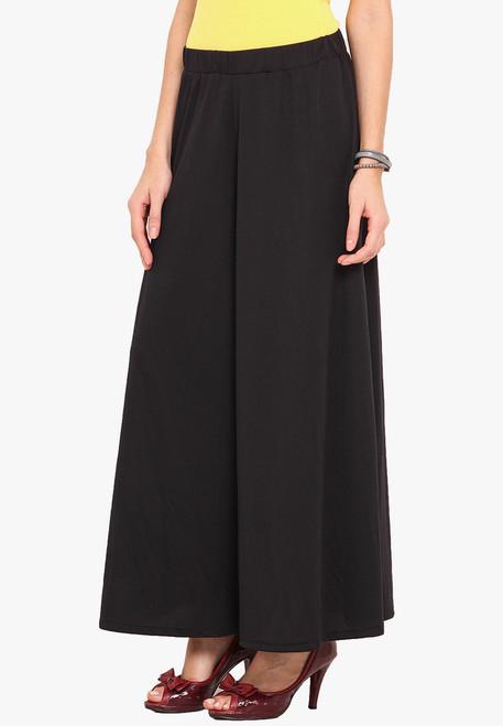 Black Palazzo Pants Wide Leg Pants Knit Stretchable