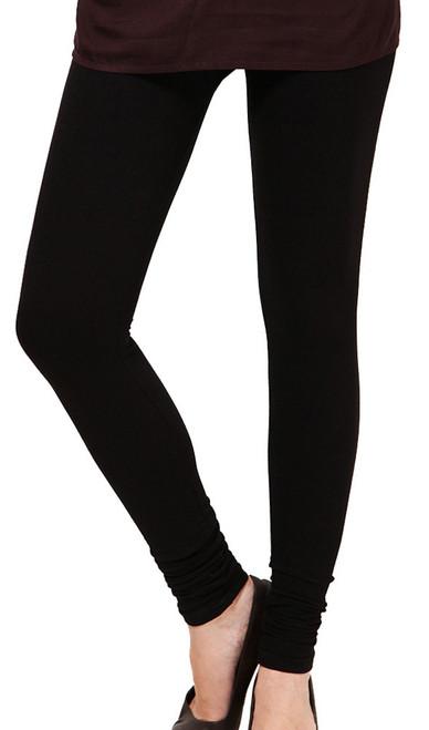 Black Leggings Cotton Knit Stretchable