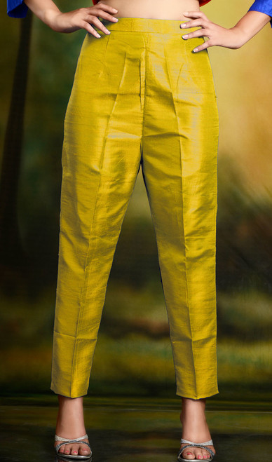 Golden Yellow Cigarette Pants Skinny Trousers - Silk