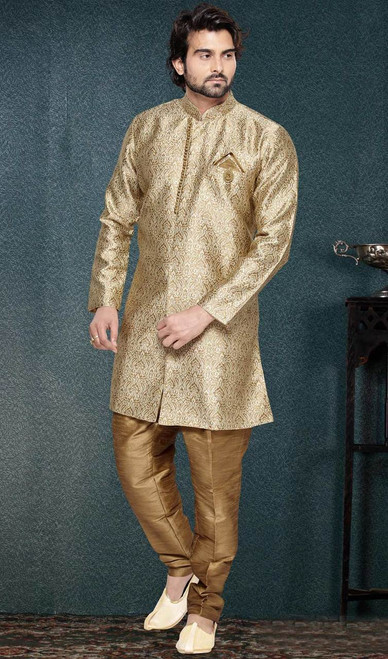 Beige Color Jacquard Art Silk Embroidered Sherwani