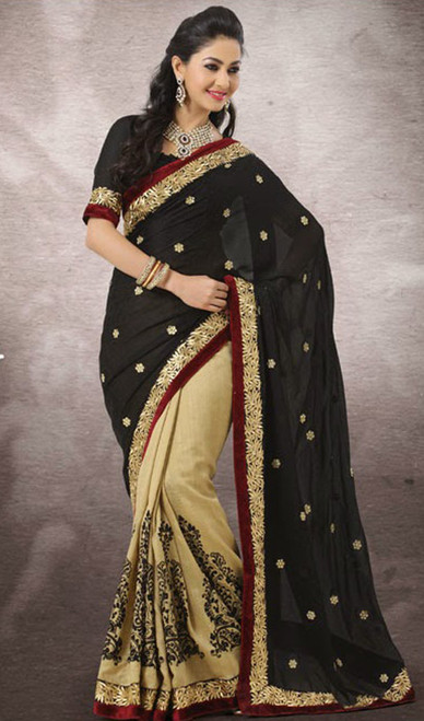 Beige and Black Silk Chiffon Half N Half Saree