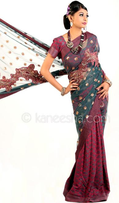 Enticing Magenta Embroidered Sari