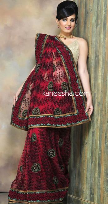 Red Net Indian Saree