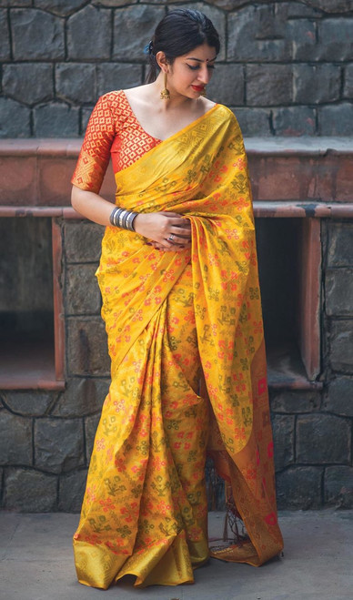Yellow Color Shaded Patola Silk Sari