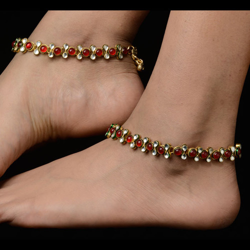 Gold Plated Anklets with Red and White Beads