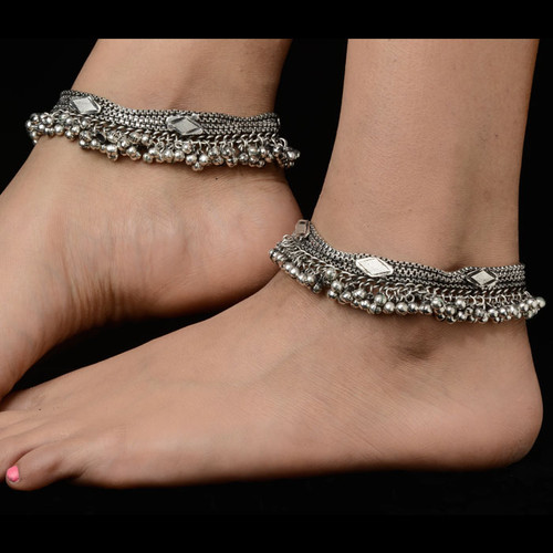 Trendy Style Silver Anklets for Girls