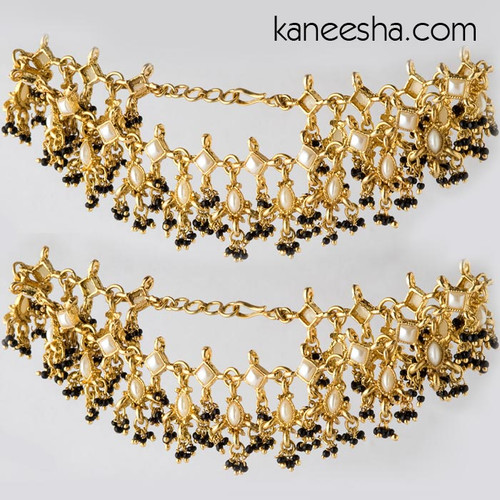 Goldplated Black Bead Anklets