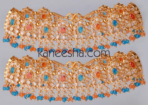 Gold Plated Turquoise and Orange Polki Anklets