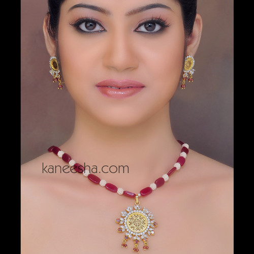 Gold Plated Thewa Style Necklace Set Accented with Cubic Zircons
