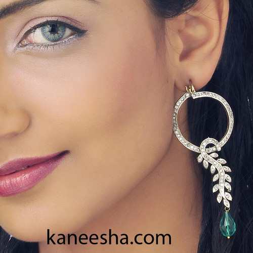 Silver Finish Cubic Zircon Hoop earrings-60% price reduction