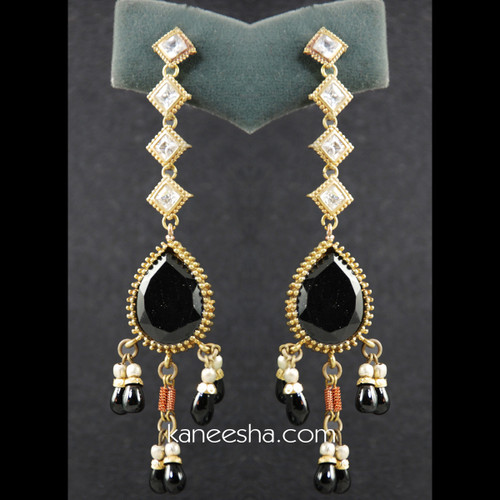American Diamond & Black Beaded Earrings - 25% price reduction