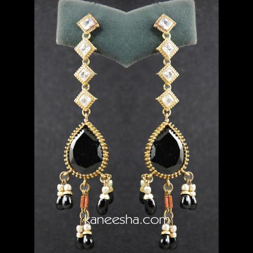 American Diamond & Black Beaded Earrings - 25% price reduction