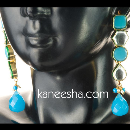 Blue Hanging Kundan Indian Earrings - 60% price reduction