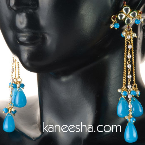 Blue Hanging Indian Earrings - 40% price reduction