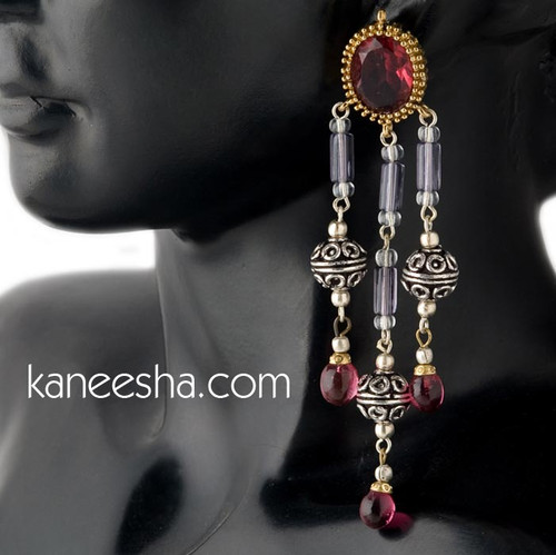 Hot Pink Traditional Fashion Earrings