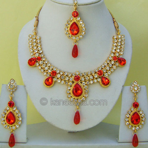 Exclusive Gold Plated Necklace Set with Cz and Colored Beads