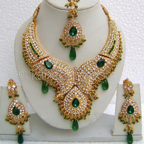 High Fashion Green Bridal Gold Plated Cz Necklace Set