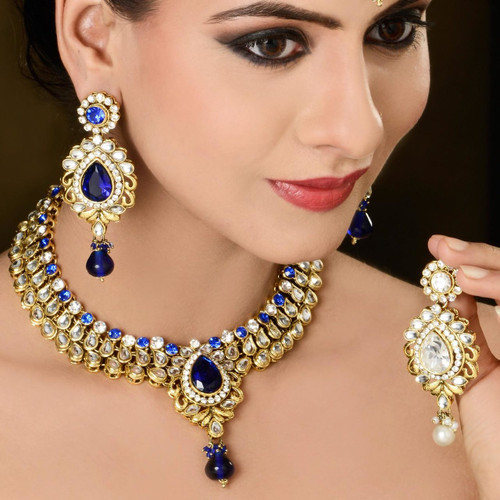 Blue Color Diamond Studded Necklace