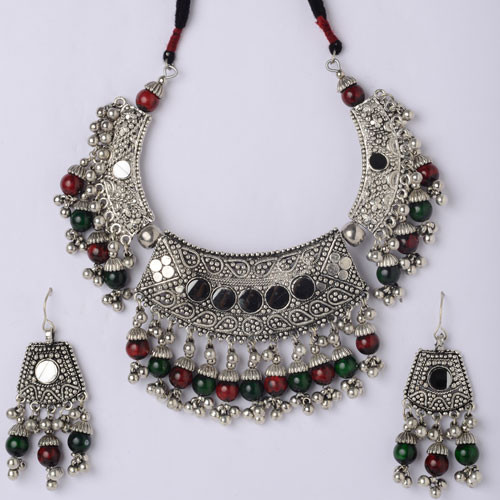 Silver Necklace Set accented with Green and Red Beads