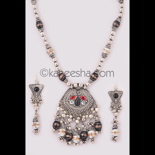 Exceptional Oxidized Silver Necklace Set